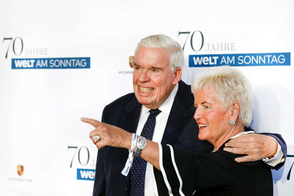 HAMBURG, GERMANY - SEPTEMBER 18: Christine Kuehne and her husband Klaus-Michael Kuehne during the 70th anniversary celebration of the German Sunday newspaper WELT AM SONNTAG (WAMS) at The Fontenay Hotel on September 18, 2018 in Hamburg, Germany. (Photo by Isa Foltin/Getty Images for WAMS)