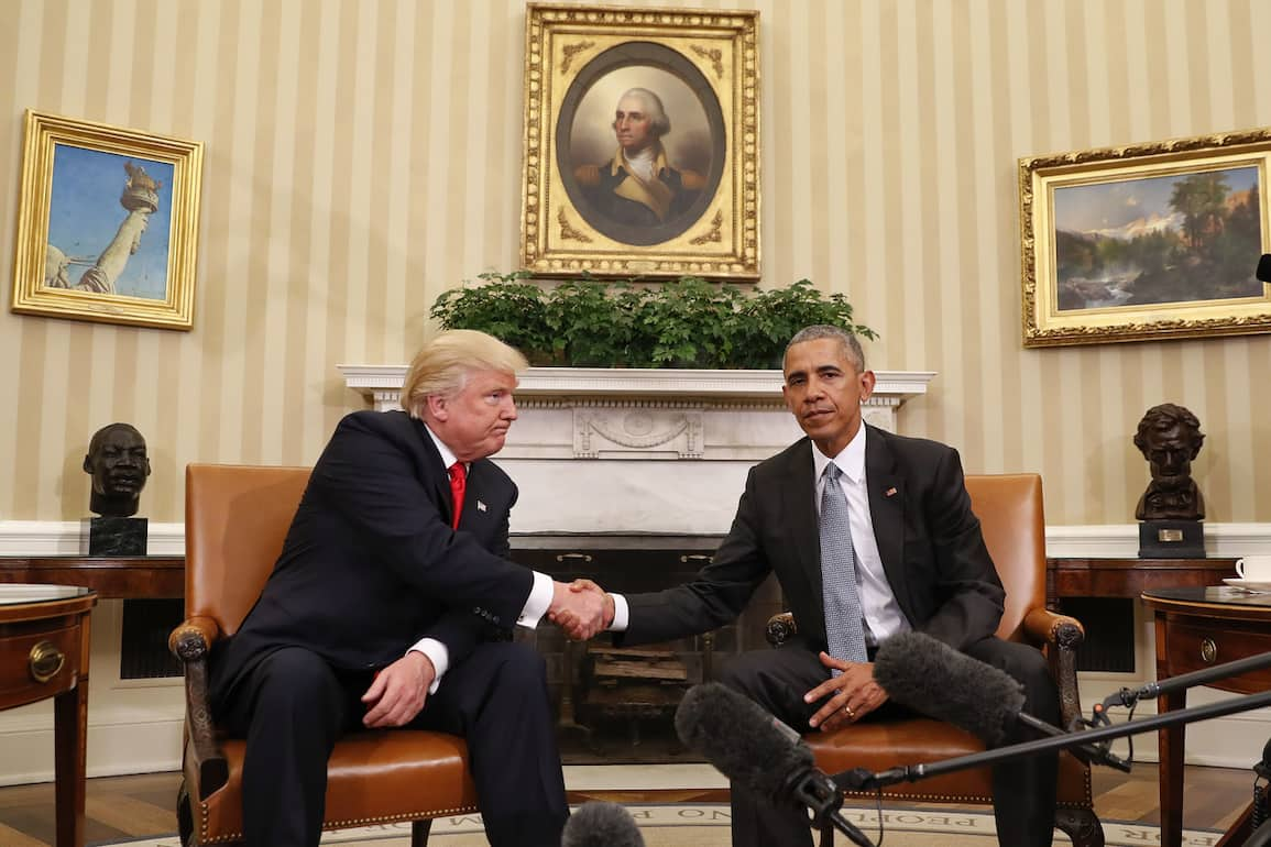 President Barack Obama and President-elect Donald Trump shake hands following their meeting in the Oval Office of the White House in Washington, Thursday, Nov. 10, 2016. (AP Photo/Pablo Martinez Monsivais)