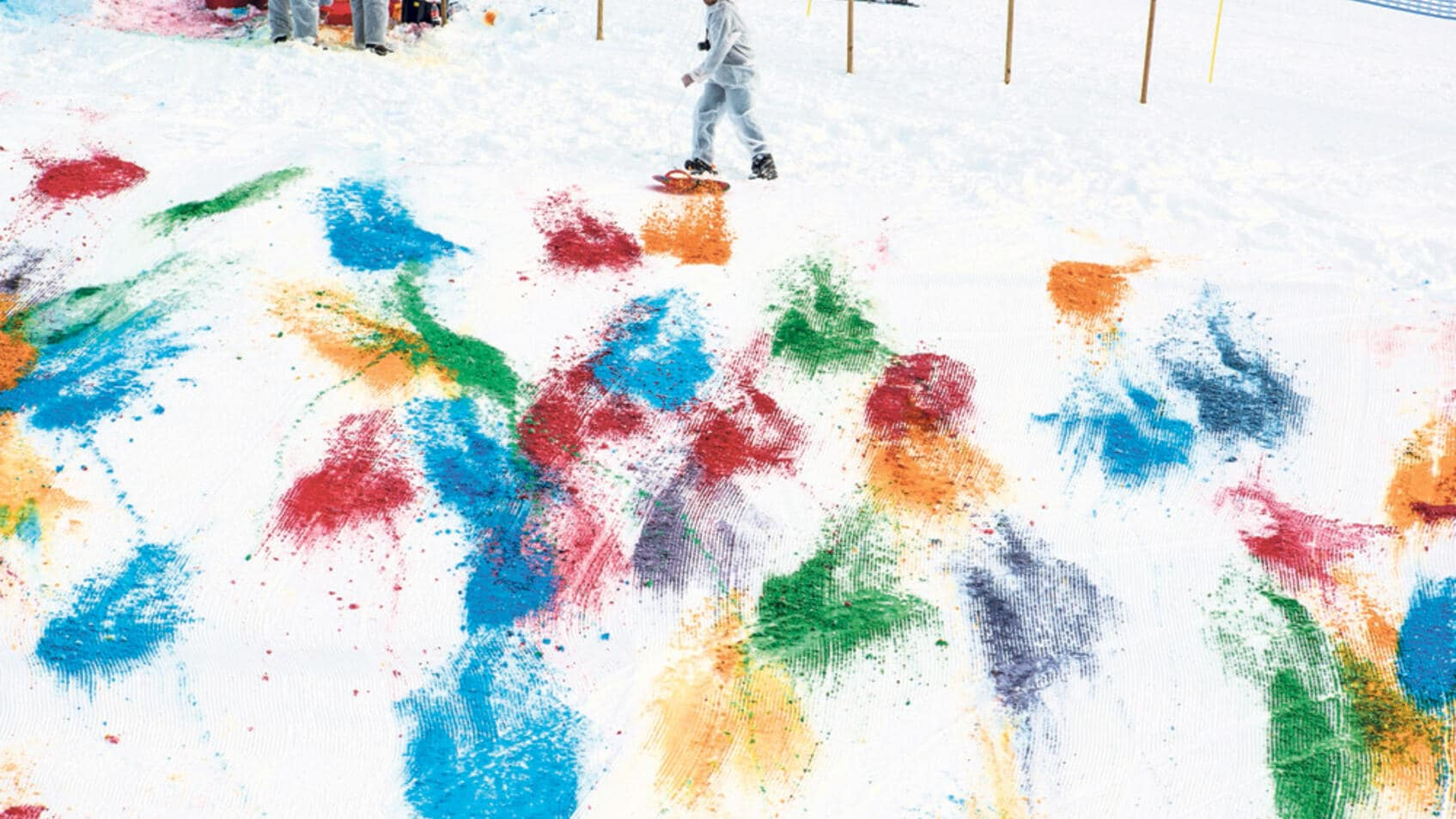 Olaf Breuning: «Snow Drawing», Gstaad, 2014.