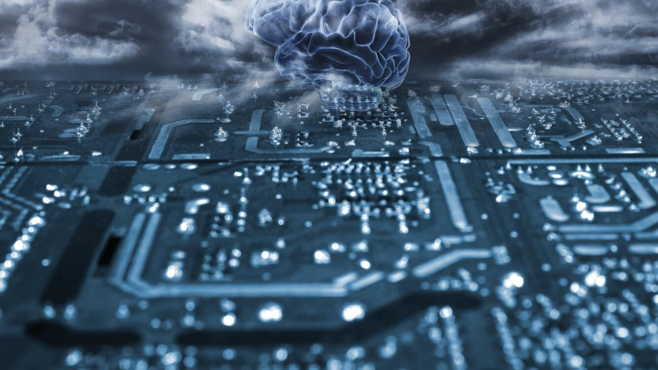 Artificial intelligence, conceptual composite image. Human brain and computer circuit board.