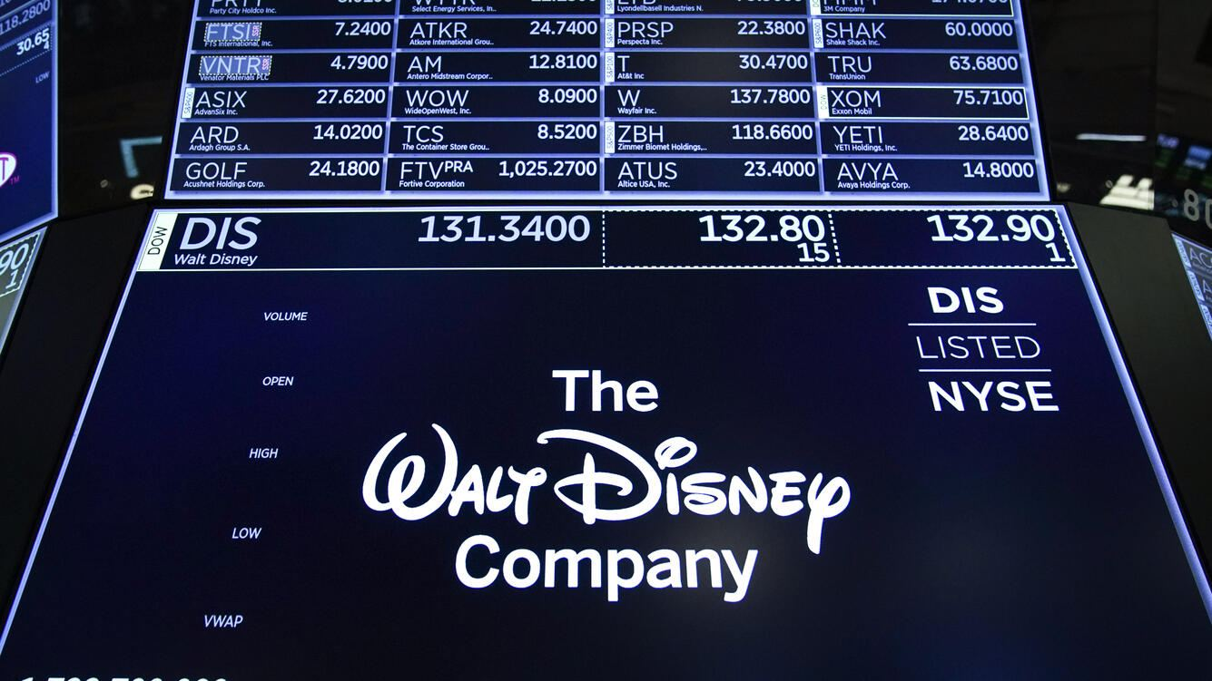NEW YORK, NY - MAY 14: A logo for The Walt Disney Company is displayed on a trading post during the opening bell on the floor of the New York Stock Exchange (NYSE), May 14, 2019 in New York City. Disney will take full operational control over Hulu from Comcast, effective immediately, the companies announced in a press release Tuesday morning. (Photo by Drew Angerer/Getty Images)