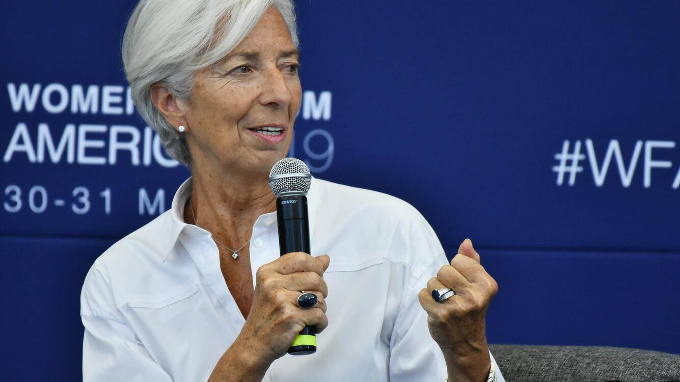 Managing Director of the International Monetary Fund (IMF) Christine Lagarde speaks on stage during  ' Open Hearts to Close Divides: Solidarity for Peace and Prosperity ' as part of  Women's Forum Americas 2019 at Claustro of Sor Juana University on May 30, 2019 in Mexico City, Mexico (Photo by Carlos Tischler/NurPhoto via Getty Images)