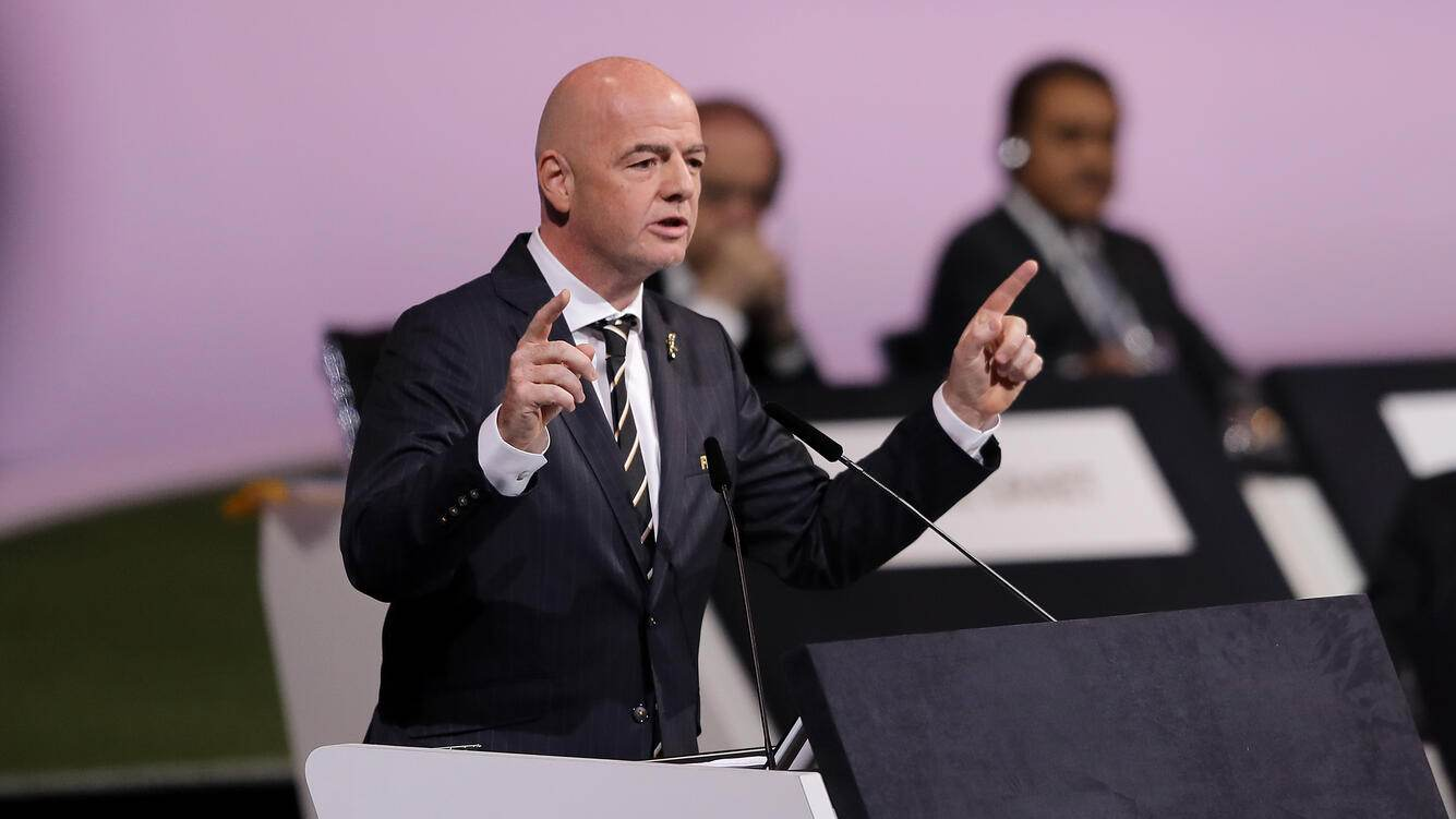 PARIS, FRANCE - JUNE 05: FIFA President Gianni Infantino during the 69th FIFA Congress at the Paris Expo Porte de Versailles on June 05, 2019 in Paris, France. (Photo by Richard Heathcote/Getty Images)