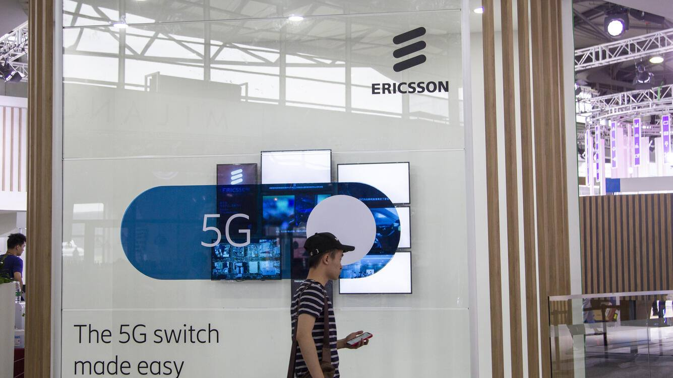 SHANGHAI, CHINA - JUNE 25: People visit the Ericsson stand during the Mobile World Congress (MWC) Shanghai 2019 at the Shanghai New International Expo Center on June 25, 2019 in Shanghai, China. The Mobile World Congress (MWC) Shanghai 2019 themed on 'Intelligent Connectivity' will last for three days. (Photo by Visual China Group via Getty Images/Visual China Group via Getty Images)
