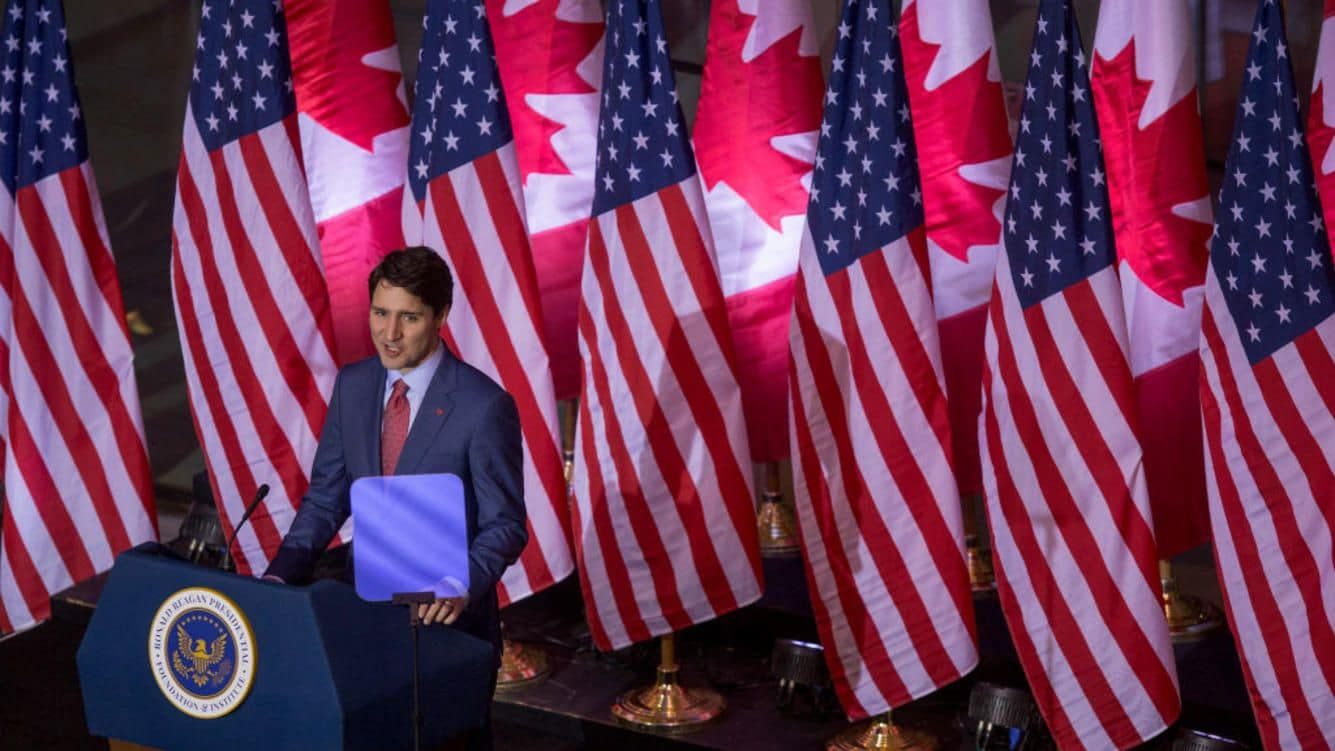 SIMI VALLEY, CA - FEBRUARY 09: Canadian Prime Minister Justin Trudeau speaks in the Ronald Reagan Presidential Foundation and Institute. (Photo by David McNew/Getty Images)