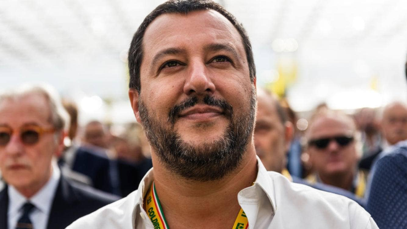Deputy Prime Minister and Minister of Interior Matteo Salvini listen the Italian anthem at a Coldiretti's initiative, the major representative organisation of Italian farmers, in Rome, Italy, on October 05, 2018.(Photo by Michele Spatari/NurPhoto via Getty Images)
