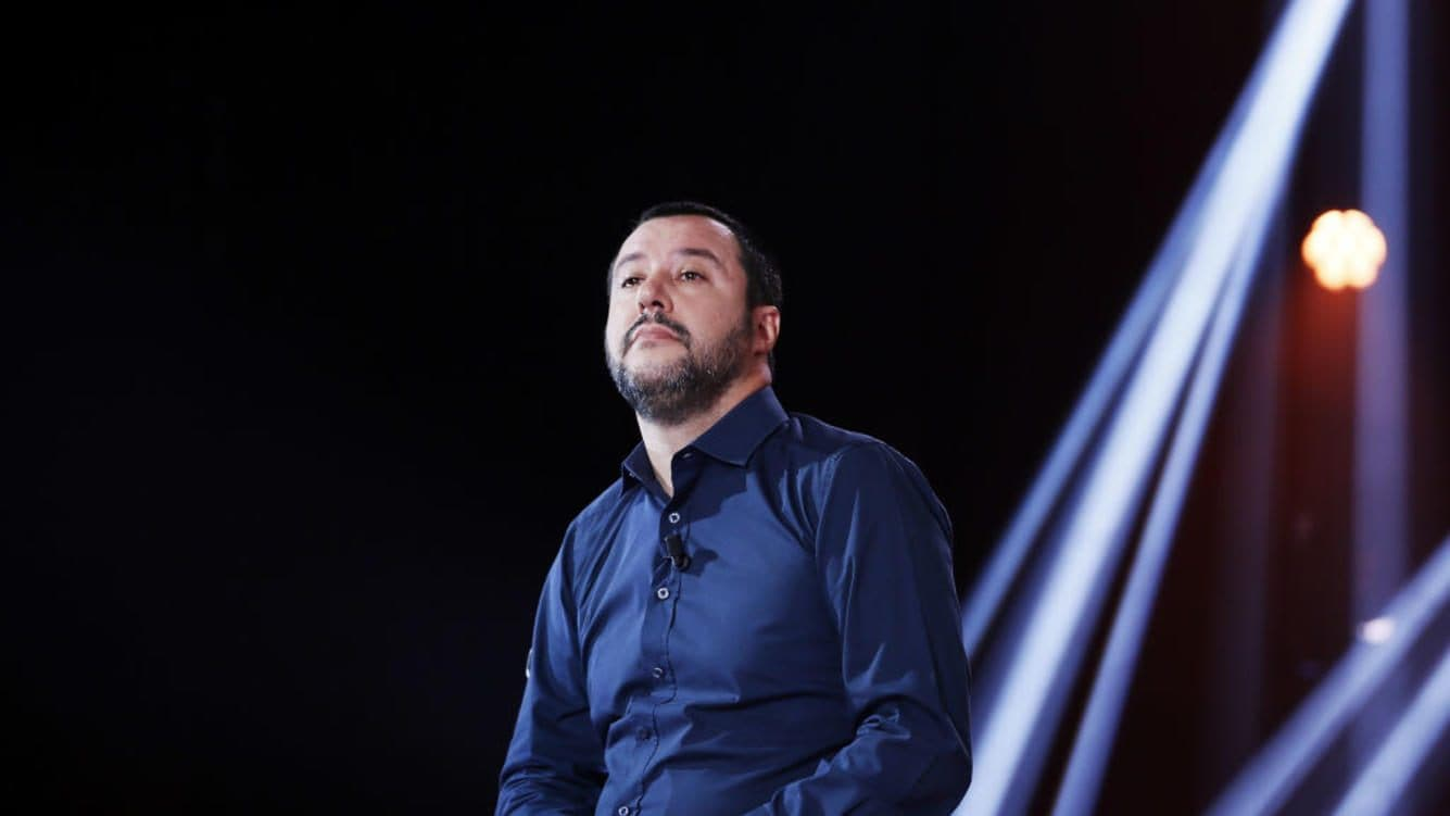 ROME, ITALY - NOVEMBER 16:  Italy's Interior Minister Matteo Salvini attends the Nemo Tv Show at Cinecitta on November 16, 2018 in Rome, Italy.  (Photo by Ernesto Ruscio/Getty Images)