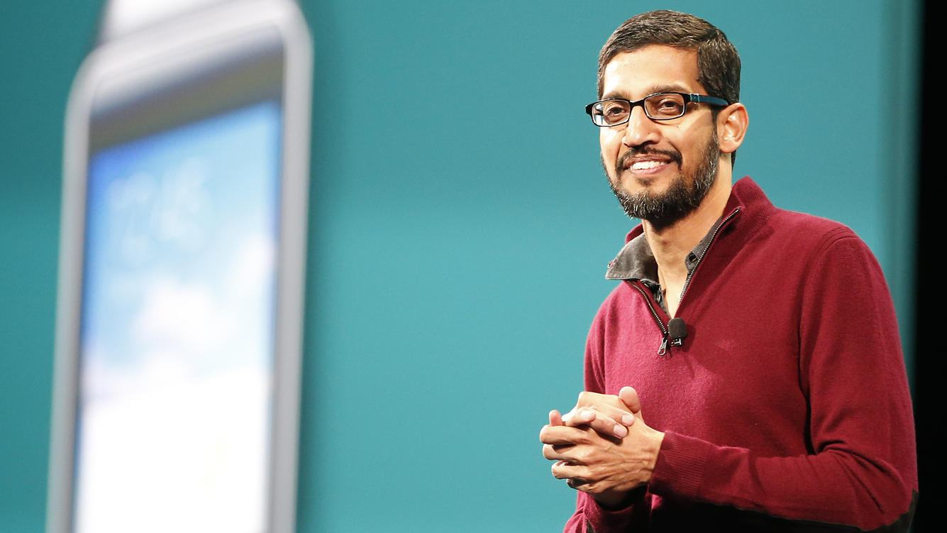 SAN FRANCISCO, CA - JUNE 25: Sundar Pichai, Senior Vice President, Android, Chrome & Apps speaks on stage during the Google I/O Developers Conference at Moscone Center on June 25, 2014 in San Francisco, California. The seventh annual Google I/O Developers conference is expected to draw thousands through June 26. (Photo by Stephen Lam/Getty Images)