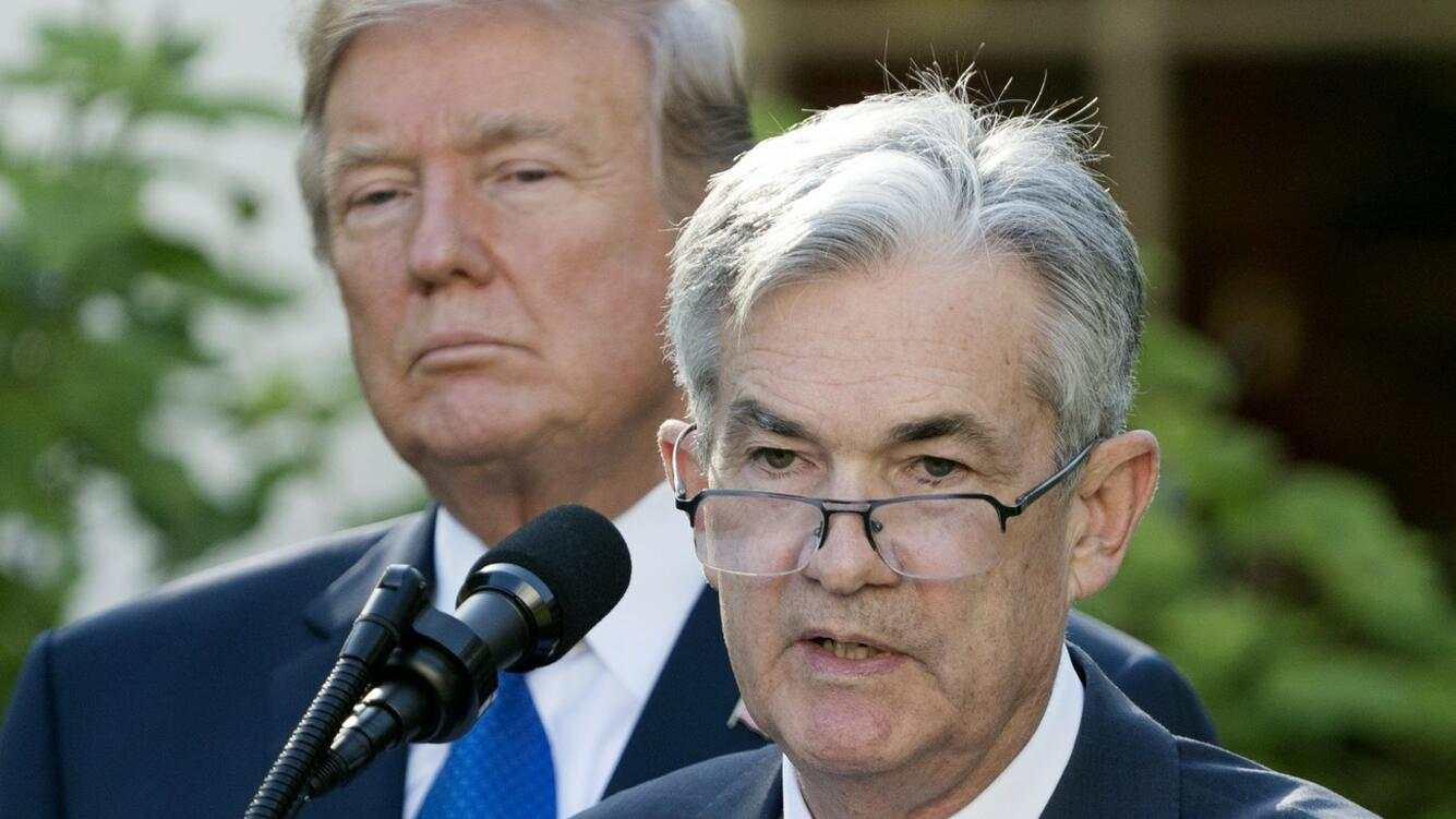 epa06304650 Jerome Powell (R) delivers remarks after US President Donald J. Trump (L) announced Powell as his nominee for Chair of the Board of Governors of the Federal Reserve System, in the Rose Garden of the White House in Washington, DC, USA, 02 November 2017. If confirmed, Jerome Powell will succeed Janet Yellen as chair of the US central bank.  EPA/MICHAEL REYNOLDS