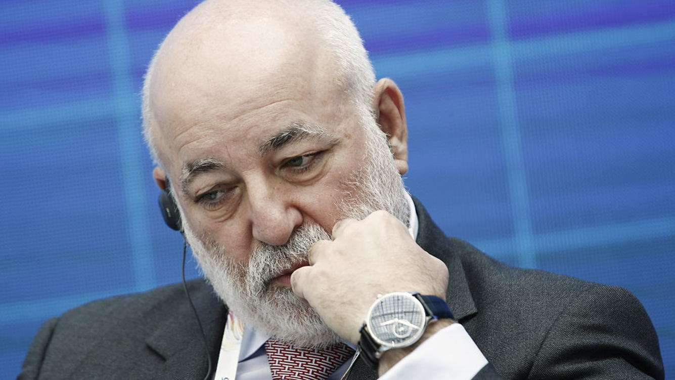MOSCOW, RUSSIA - MAY 30, 2016. The chairman of the board of directors at Renova Group, Viktor Vekselberg, at the 8th Atomexpo International Forum organised by Russia's Rosatom State Nuclear Energy Corporation in Gostiny Dvor Exhibition Centre. Alexander Shcherbak/TASS (Photo by Alexander Shcherbak\TASS via Getty Images)