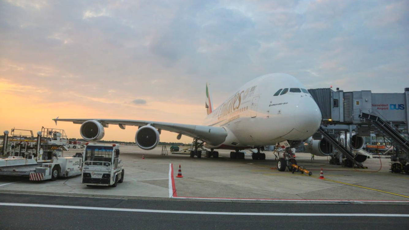 Emirates Airbus A380 docked at Dusseldorf Airport in Germany on August 21.  (Photo by Nicolas Economou/NurPhoto via Getty Images)
