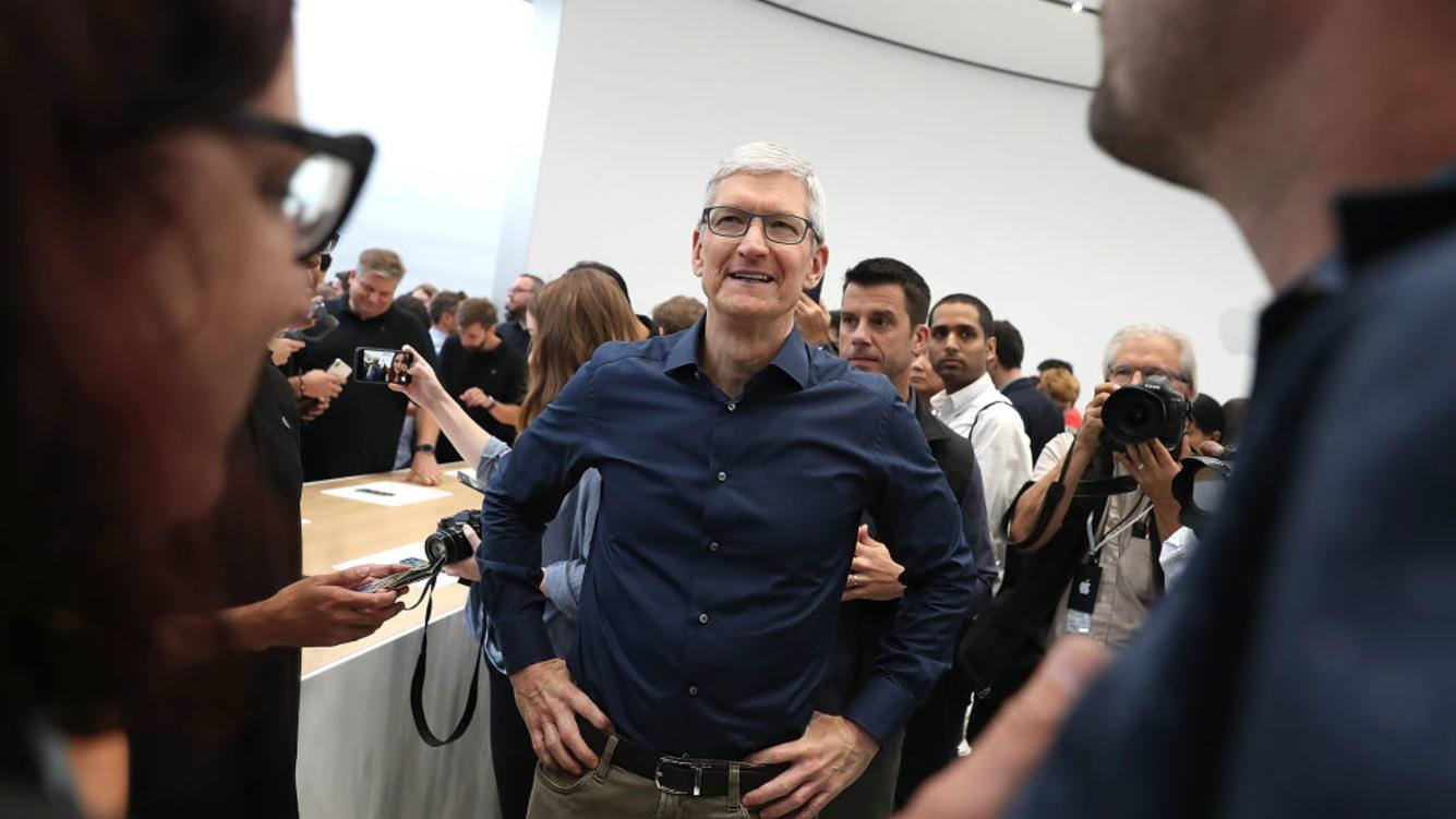 CUPERTINO, CA - SEPTEMBER 12:  Apple CEO Tim Cook (C) greets visitors during an Apple special event at the Steve Jobs Theatre on September 12, 2018 in Cupertino, California.  Apple released three new versions of the iPhone and an updated Apple Watch.  (Photo by Justin Sullivan/Getty Images)