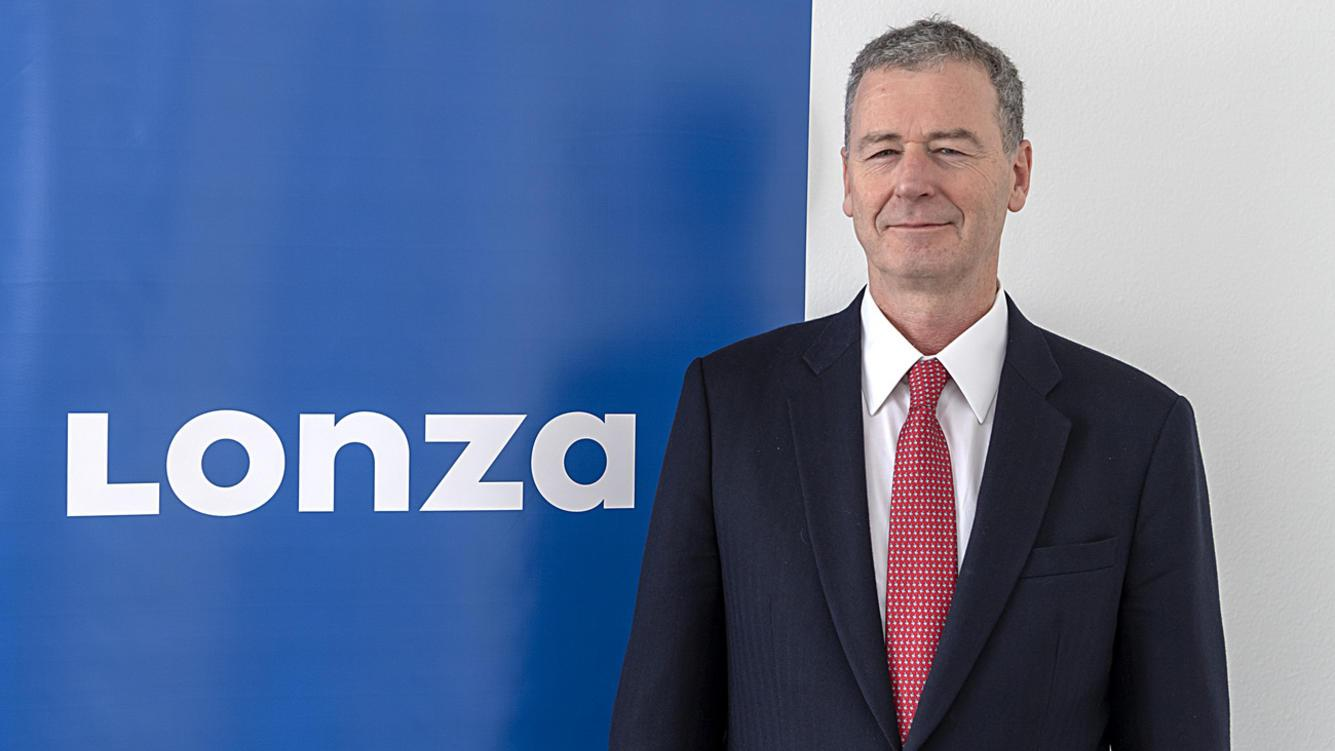 Marc Funk, designated CEO of biopharmaceutical company Lonza, poses after the annual results media conference at the Lonza Tower in Basel, Switzerland, on Wednesday, January 30, 2019. (KEYSTONE/Georgios Kefalas)