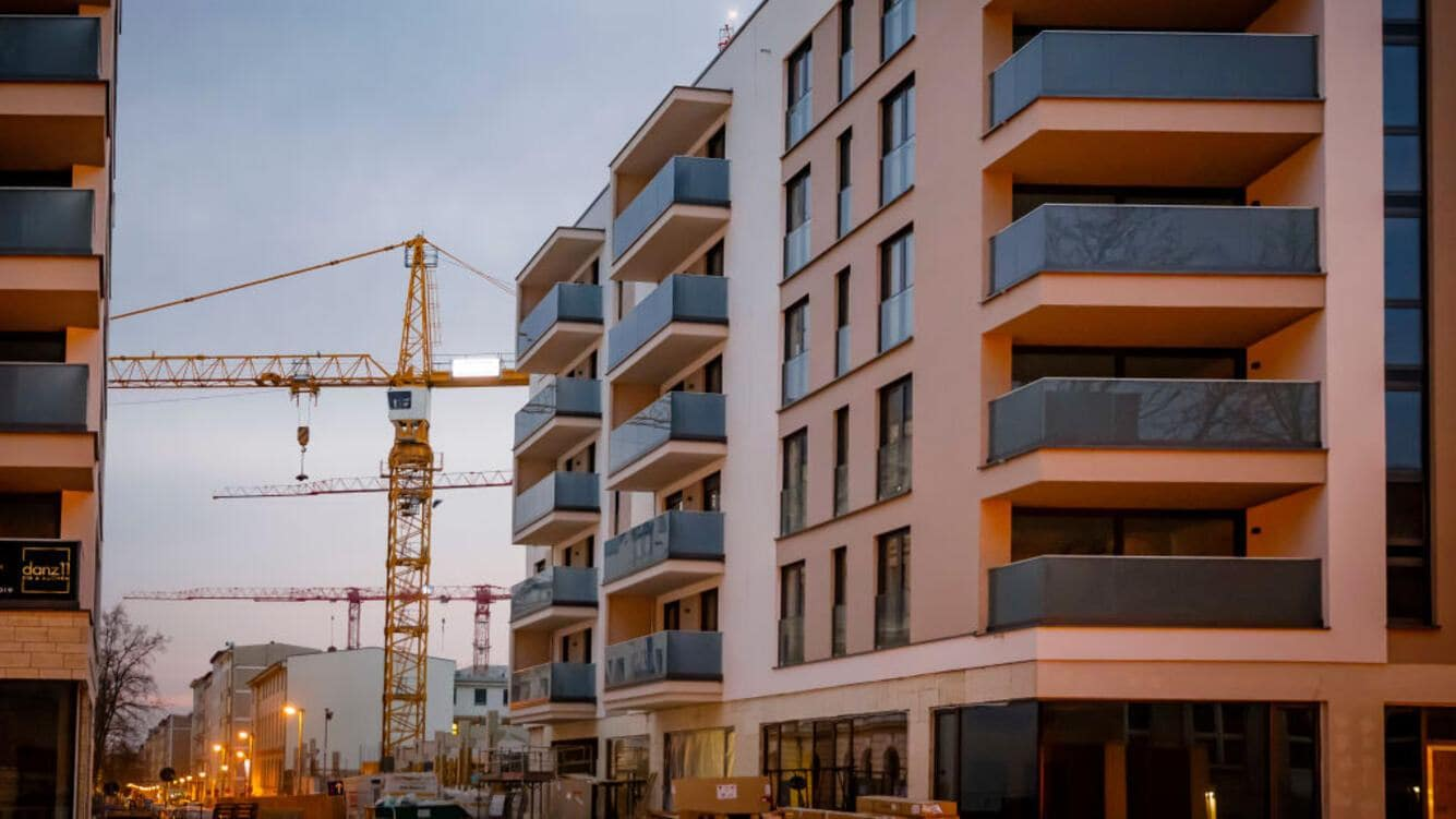 Magdeburg, Germany - February 28: Symbolic photo on the topic of housing in the city. New apartments are captured on a construction side on February 28, 2019 in Magdeburg, Germany. (Photo Illustration by Thomas Trutschel/Photothek via Getty Images)