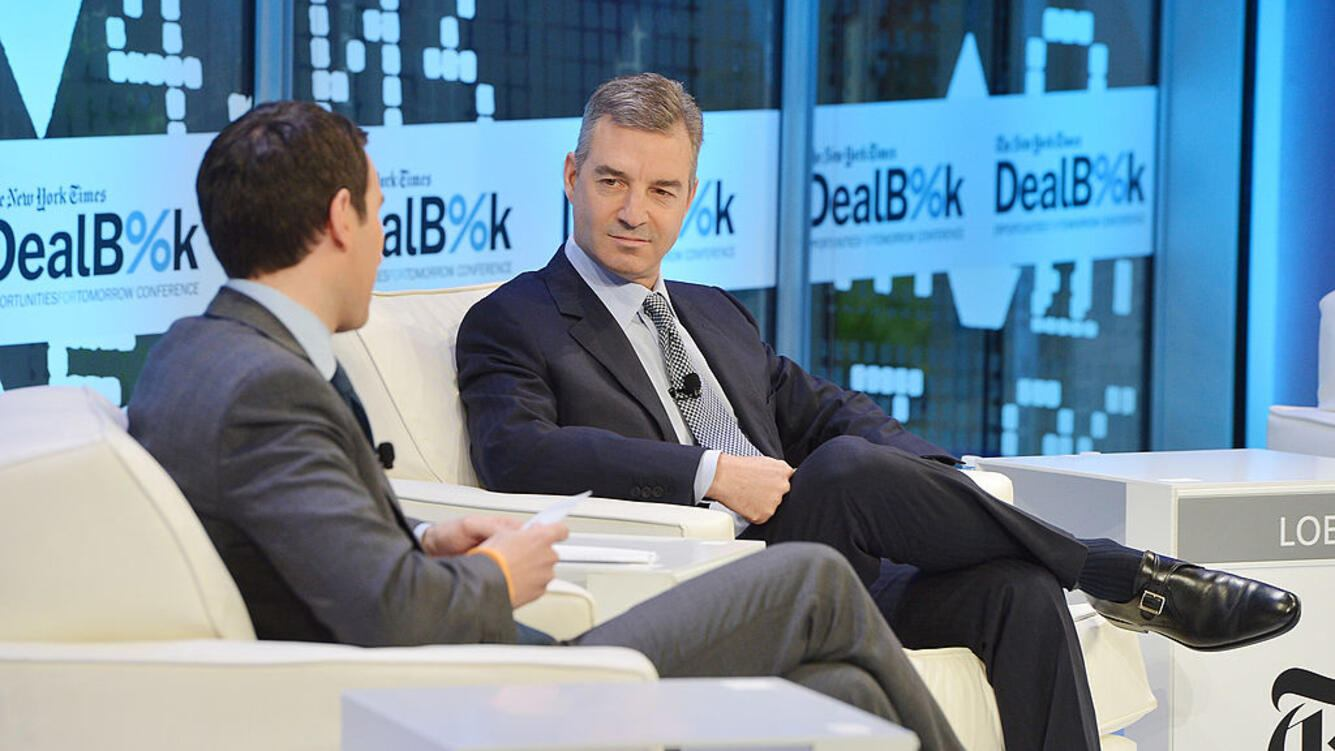 NEW YORK, NY - NOVEMBER 12:  Journalist Andrew Ross Sorkin (L) and founder of Third Point LLC Daniel Loeb participate in a discussion at the New York Times 2013 DealBook Conference in New York at the New York Times Building on November 12, 2013 in New York City.  (Photo by Larry Busacca/Getty Images for The New York Times)