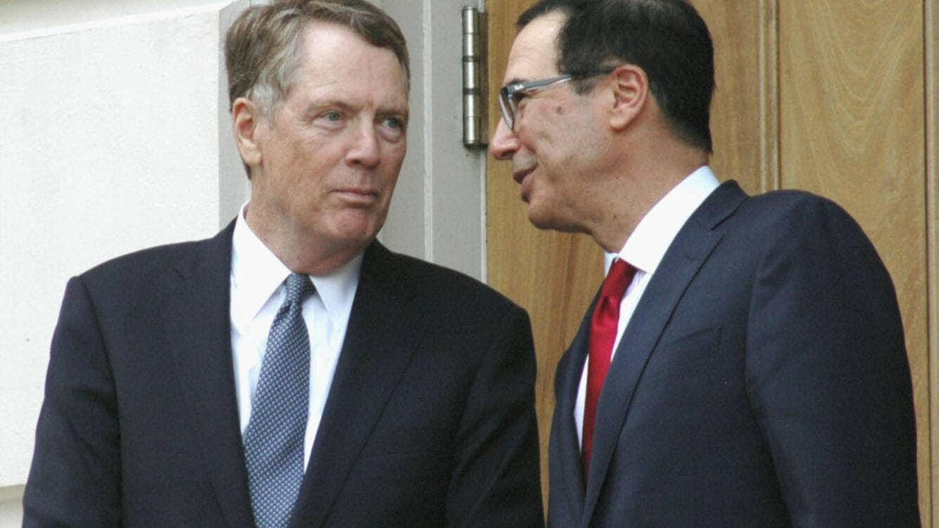 U.S. Trade Representative Robert Lighthizer (L) and Treasury Secretary Steven Mnuchin are pictured in Washington on May 9, 2019. The United States and China started trade talks the same day in a bid to avert an escalation of a trade war between the world's two largest economies. (Kyodo)==Kyodo(Photo by Kyodo News via Getty Images)