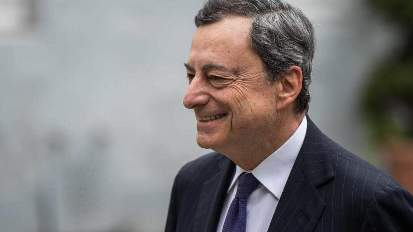 AACHEN, GERMANY - MAY 10: Mario Draghi, president of the European Central Bank (ECB) arrives for the International Charlemagne Prize on May 10, 2018 in Aachen, Germany. The award, bestowed annually since 1950, is given to honor leaders who have furthered European unity. (Photo by Lukas Schulze/Getty Images,)