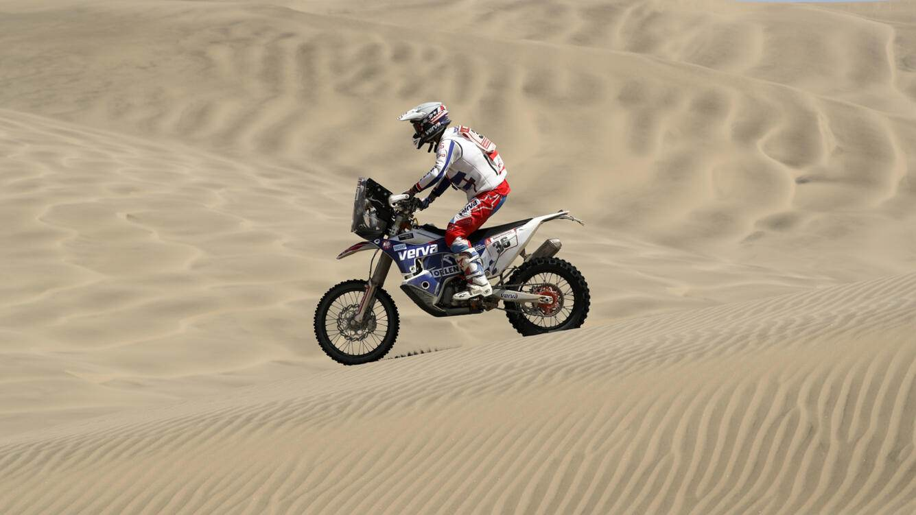 Maciej Giemza of Poland rides his KTM motorbike during the stage seven of the Dakar Rally in San Juan de Marcona, Peru, Monday, Jan. 14, 2019. (AP Photo/Ricardo Mazalan)