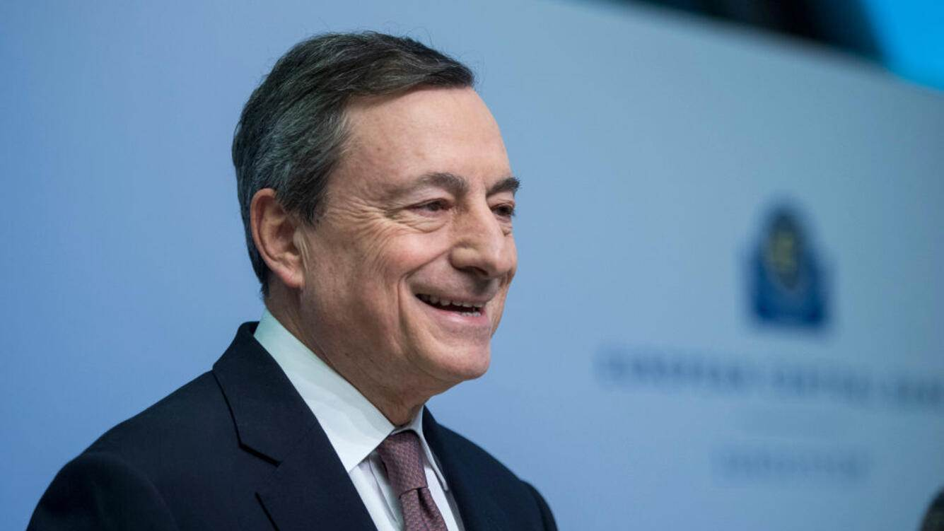 FRANKFURT AM MAIN, GERMANY - MARCH 07: Mario Draghi, President of the European Central Bank (ECB), speaks to the media following a meeting of the ECB Governing Council at ECB headquarters of March 7, 2019 in Frankfurt, Germany. Economic growth in the Eurozone group of nations has stalled, partially due to uncertainties caused by the tariff conflicts initiated by the administration of U.S. President Donald Trump, both with China and the European Union. (Photo by Thomas Lohnes/Getty Images)