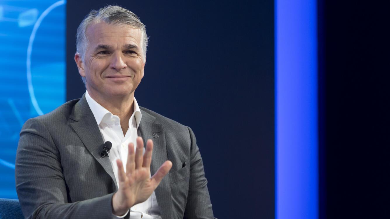 """Swiss bank UBS CEO Sergio P. Ermotti speaks during a panel session during the 49th Annual Meeting of the World Economic Forum, WEF, in Davos, Switzerland, Thursday, January 24, 2019. The meeting brings together entrepreneurs, scientists, corporate and political leaders in Davos under the topic """"Globalization 4.0"""" from 22 - 25 January 2019. (KEYSTONE/Laurent Gillieron)"""