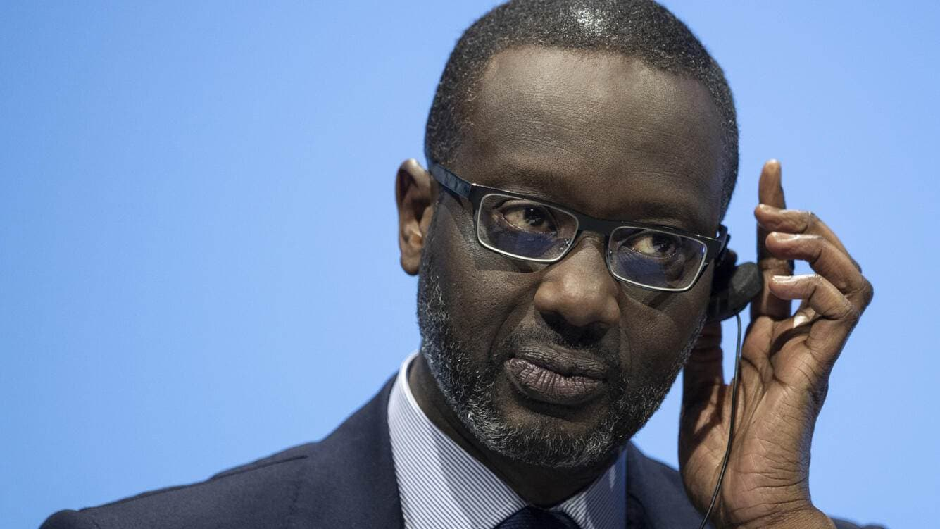 Tidjane Thiam, CEO of Switzerland's bank Credit Suisse (CS), speaks during the general assembly at the Hallenstadion in Zurich, Switzerland, Friday, April 26, 2019. (KEYSTONE/Ennio Leanza)