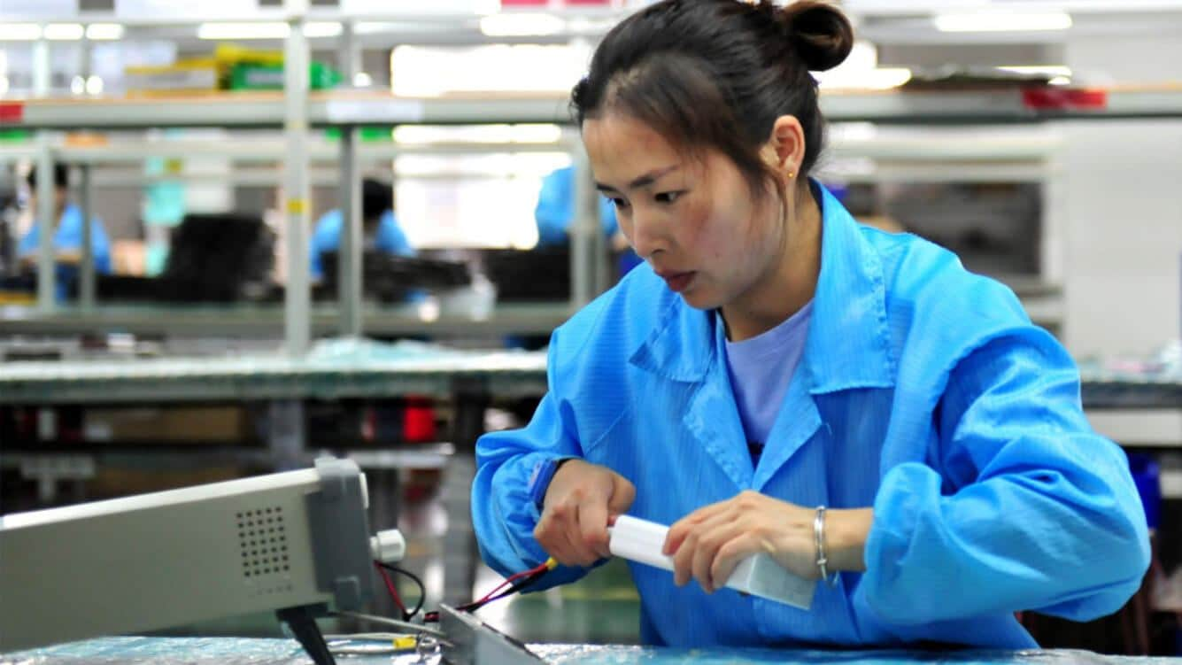 YICHANG, CHINA - MAY 28: A worker tests lithium battery products for power connection on the production line of a new energy company to meet domestic and foreign markets demand on May 28, 2019 in Yichang, Hubei Province of China. (Photo by Zhang Guorong/VCG via Getty Images)