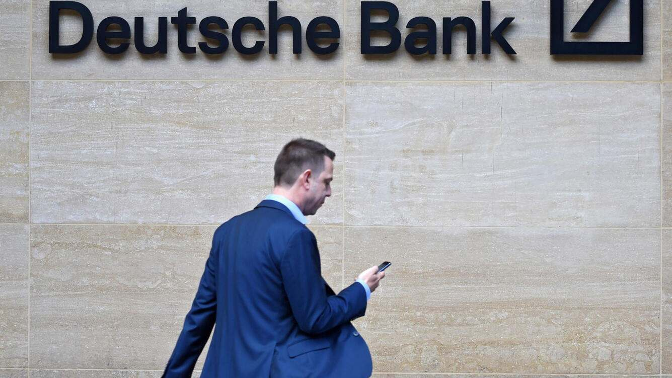 epa07701620 (FILE) - A man walks past by the British headquarters of the German Deutsche Bank in London, Britain, 30 September 2016 (reissued 07 July 2019). According to reports 07 July 2019, German bank Deutsche Bank in considering to cut up tp 18,000 jobs globally to some 74.000 full-time jobs by 2022. The measure was announced after the supervisory board meeting in Frankfurt. EPA/FACUNDO ARRIZABALAGA *** Local Caption *** 55157953