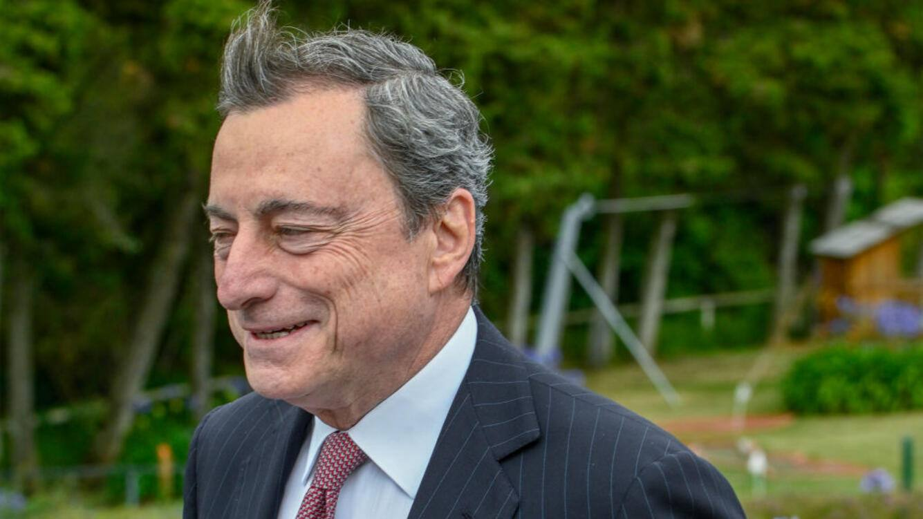 SINTRA, PORTUGAL - JUNE 18: European Central Bank President Mario Draghi smiles while arriving to participate in the afternoon discussion session during the second day of the 2019 ECB Forum on Central Banking, on June 18, 2019 in Sintra, Portugal. The ECB Forum on Central Banking 2019 is devoted this year to 20 Years of European Economic and Monetary Union. (Photo by Horacio Villalobos#Corbis/Corbis via Getty Images)
