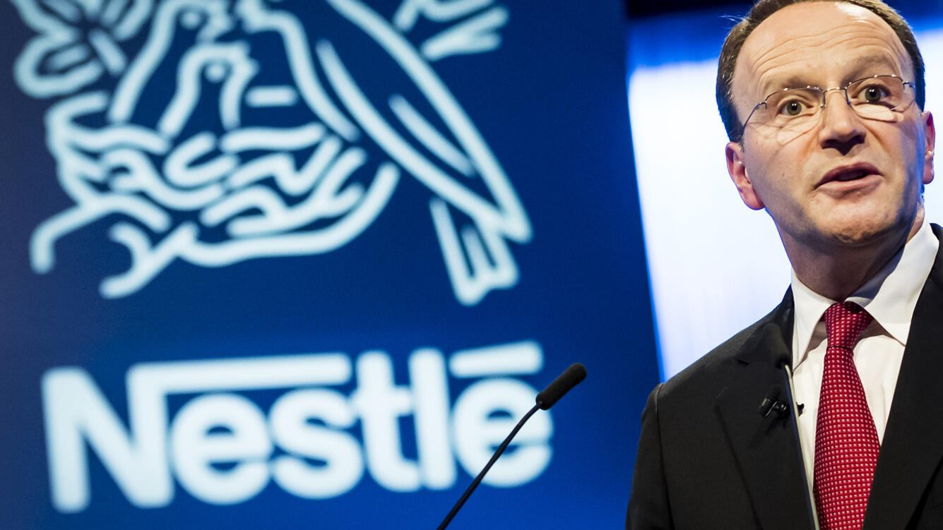 Nestle's CEO Ulf Mark Schneider speaks during the general meeting of the world's biggest food and beverage company, Nestle Group, in Lausanne, Switzerland, Thursday, April 11, 2019. (KEYSTONE/Jean-Christophe Bott)