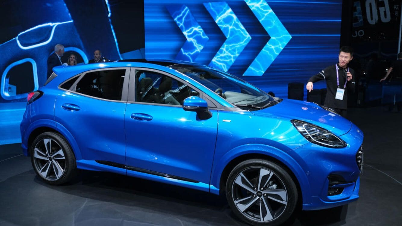 FRANKFURT AM MAIN, GERMANY - SEPTEMBER 10: A Ford Ecoboost Puma hybrid car stands on display at the 2019 IAA Frankfurt Auto Show on September 10, 2019 in Frankfurt am Main, Germany. The IAA will be open to the public from September 12 through 22. (Photo by Sean Gallup/Getty Images)