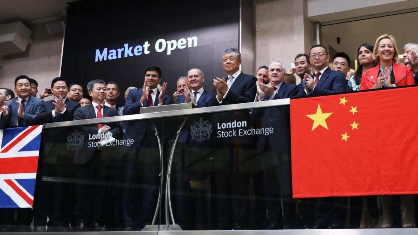 LONDON, ENGLAND - SEPTEMBER 03: The opening bell ceremony of the 15th World Chinese Entrepreneurs Convention (WCEC) is held at London Stock Exchange on September 3, 2019 in London, England. The 15th WCEC will kick off on Oct 21 in London. (Photo by Zhang Ping/China News Service/VCG via Getty Images)