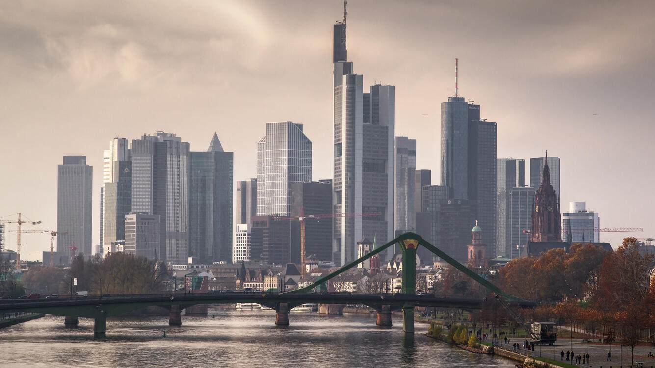 The skyline of the financial district in Frankfurt am Main, Germany.
