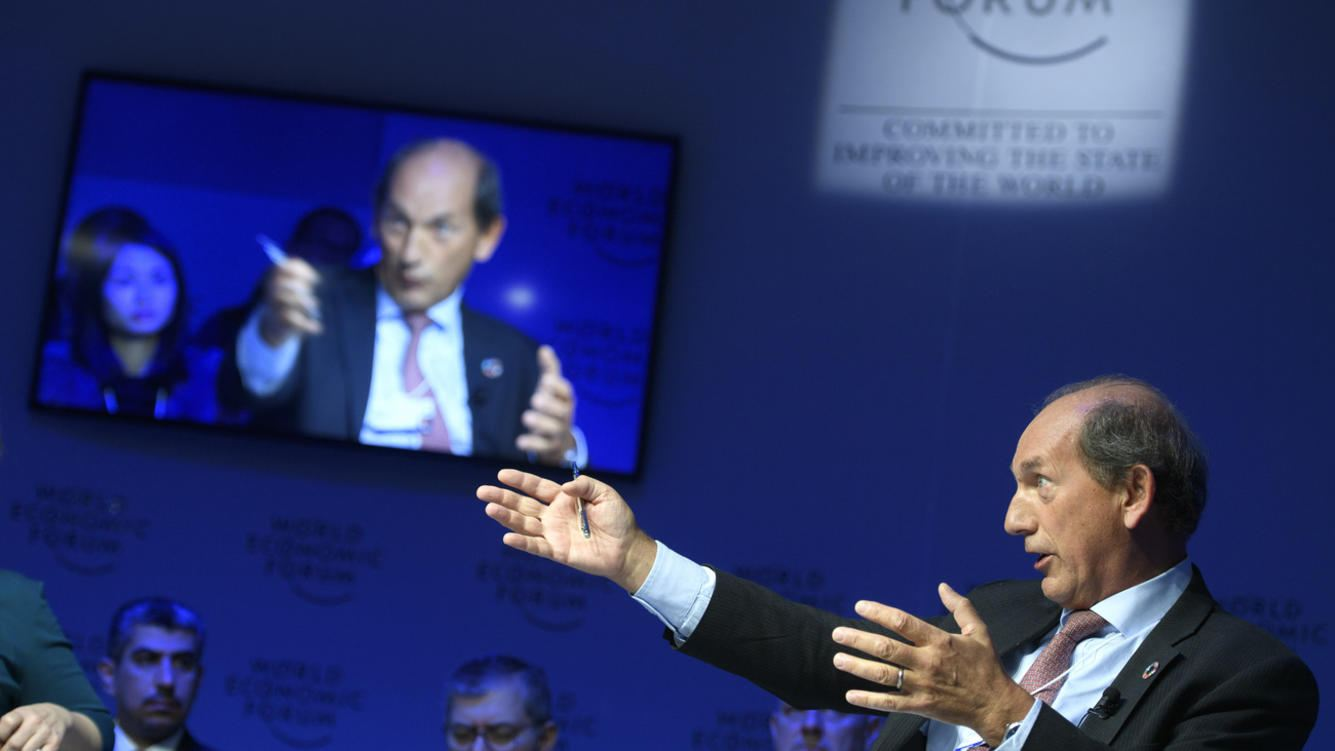 Nestle's Chairman Paul Bulcke from Belgium speaks during a panel session during the 48th Annual Meeting of the World Economic Forum, WEF, in Davos, Switzerland, Wednesday, January 24, 2018. The meeting brings together entrepreneurs, scientists, corporate and political leaders in Davos, January 23 to 26. (KEYSTONE/Laurent Gillieron)