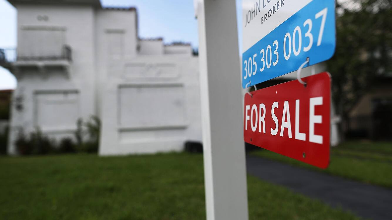 MIAMI, FL - NOVEMBER 17:  A for sale sign is posted in front of a home as interest rates for home loans climbed to nearly 4% in the wake of the election of Donald Trump to be the U.S. president on November 17, 2016 in Miami, Florida.  Reports indicate that concerns over President-elect Donald Trump's proposed spending and tax cuts are causing the mortgage rates to rise.  (Photo by Joe Raedle/Getty Images)
