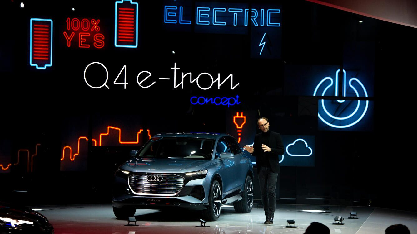 GENEVA, SWITZERLAND - MARCH 05: Audi e-Tron is displayed during the first press day at the 89th Geneva International Motor Show on March 5, 2019 in Geneva, Switzerland. (Photo by Robert Hradil/Getty Images)