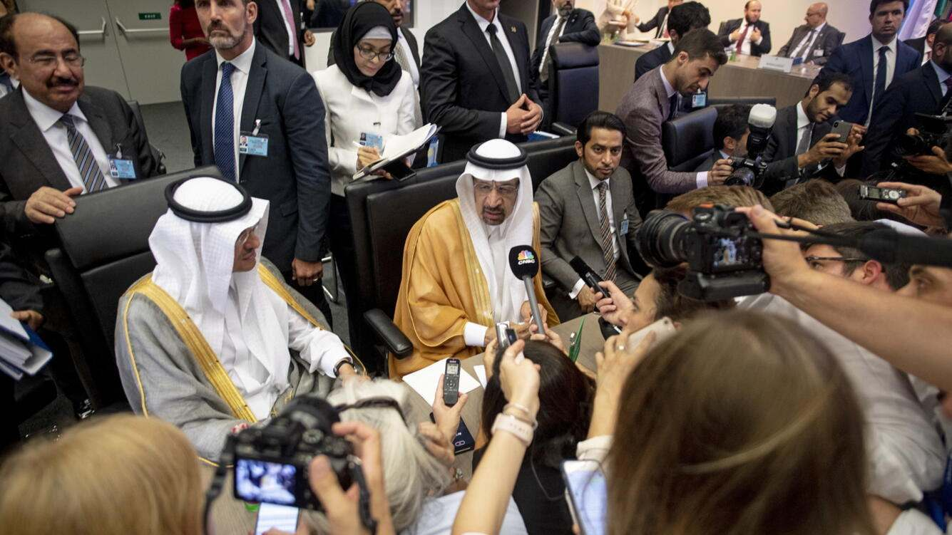 epa07687341 Khalid A. Al-Falih, Minister of Energy Industry and Mineral Resources of the Kingdom of Saudi Arabia, speaks to the media prior to the 176th Meeting of the Organization of Petroleum Exporting Countries (OPEC) conference, 6th Meeting of the OPEC and non-OPEC at the OPEC head quarters in Vienna, Austria, 01 July 2019. EPA/CHRISTIAN BRUNA