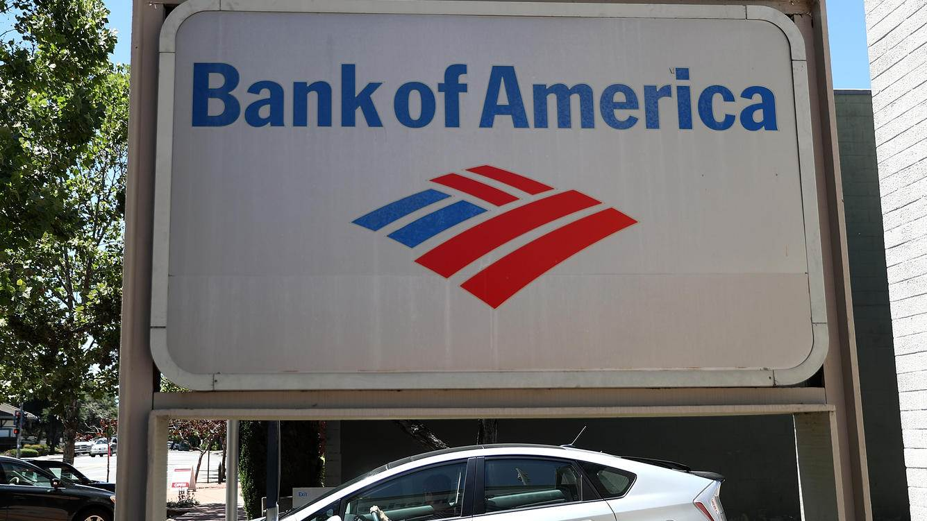 NOVATO, CA - JULY 16:  A sign is posted in front of a Bank of America office on July 16, 2018 in Novato, California. Bank of America reported stronger than expected second quarter earnings with a 33 percent surge in profits to $6.8 billion, well above the estimated $5.92 billion. (Photo by Justin Sullivan/Getty Images)