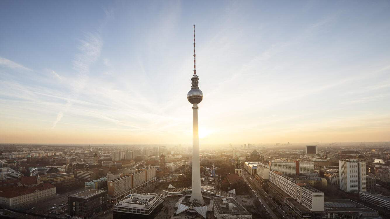 Urban skyline of Berlin, Germany, with TV tower (Fernsehturm) in the foreground.