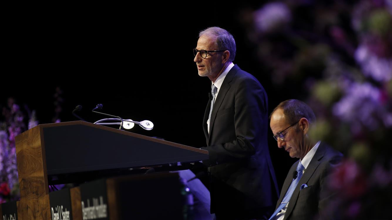 Bernhard Hodler, chief executive officer of Julius Baer Group Ltd., left, speaks as Daniel Sauter, chairman of Julius Baer Group Ltd., listens during the company's annual general meeting (AGM) in Zurich, Switzerland, on Wednesday, April 11, 2018. Swiss financial regulator, Finma, is conducting enforcement proceeding against Julius Baer, the newspaper NZZ reported. Photographer: Stefan Wermuth/Bloomberg