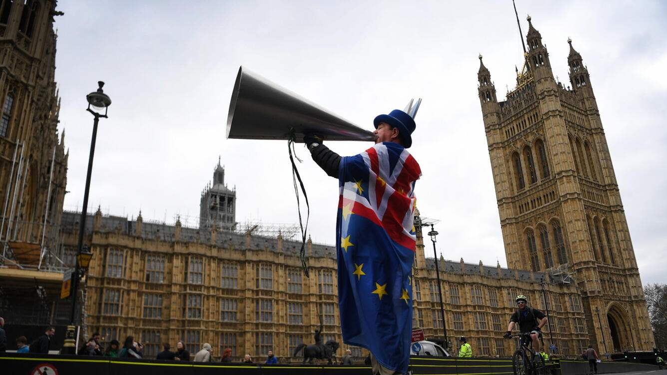 A pro EU campaigner outside the British Parliament in Westminister, central London, Britain, 27 March 2019. The British Houses of Parliament are due to hold a number of indicative votes on the direction of Brexit later in the day after voting on the 25 March 2019 to have a greater say in the direction of Brexit. EPA/ANDY RAIN