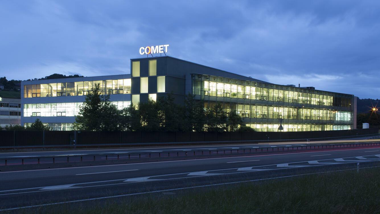 The headquarters of the company Comet in Wuennewil-Flamatt in the Canton of Fribourg, Switzerland, pictured on August 24, 2015. The company provides systems, components and services in x-ray, ebeam and RF technologies. (KEYSTONE/Gaetan Bally)