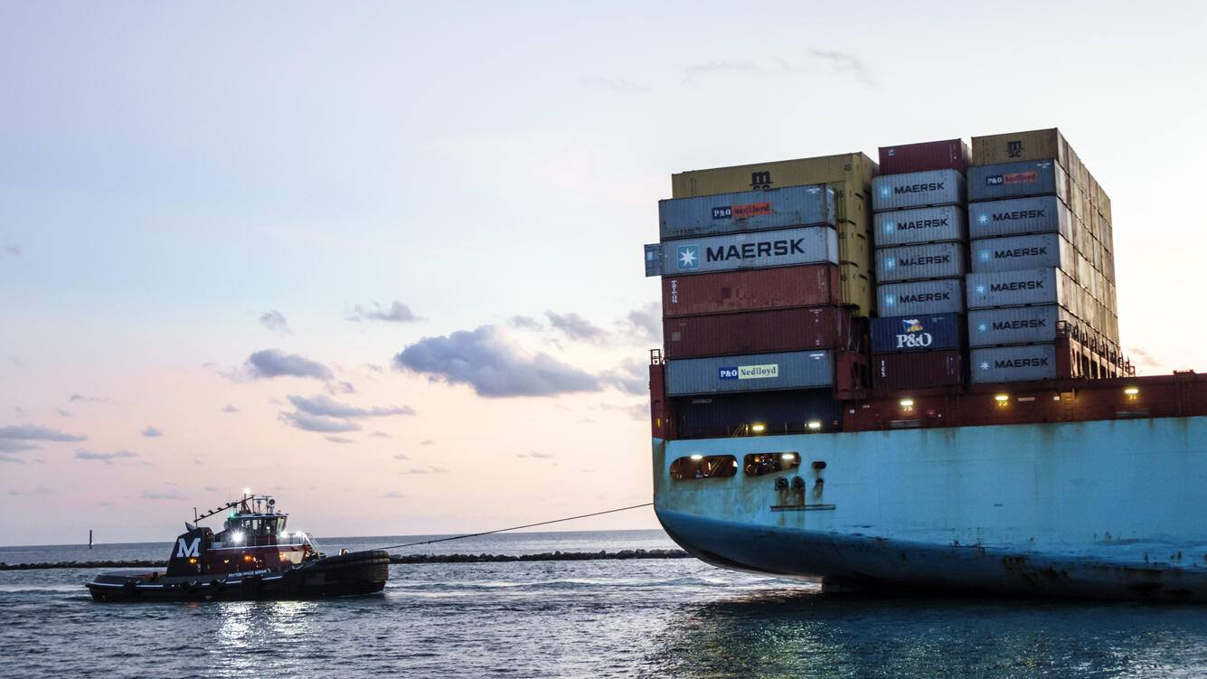 Port of Miami, Maersk Line, arriving cargo container ship. (Photo by: Jeffrey Greenberg/UIG via Getty Images)