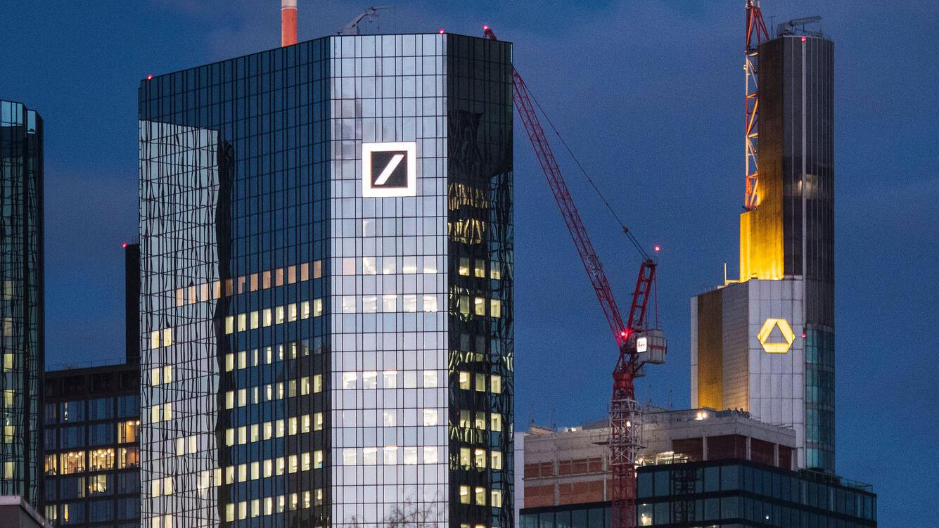 FRANKFURT AM MAIN, GERMANY - MARCH 18: The corporate headquarters of Deutsche Bank and Commerzbank stand on March 18, 2019 in Frankfurt, Germany. The two banks are reportedly in talks over a possible merger. (Photo by Thomas Lohnes/Getty Images)