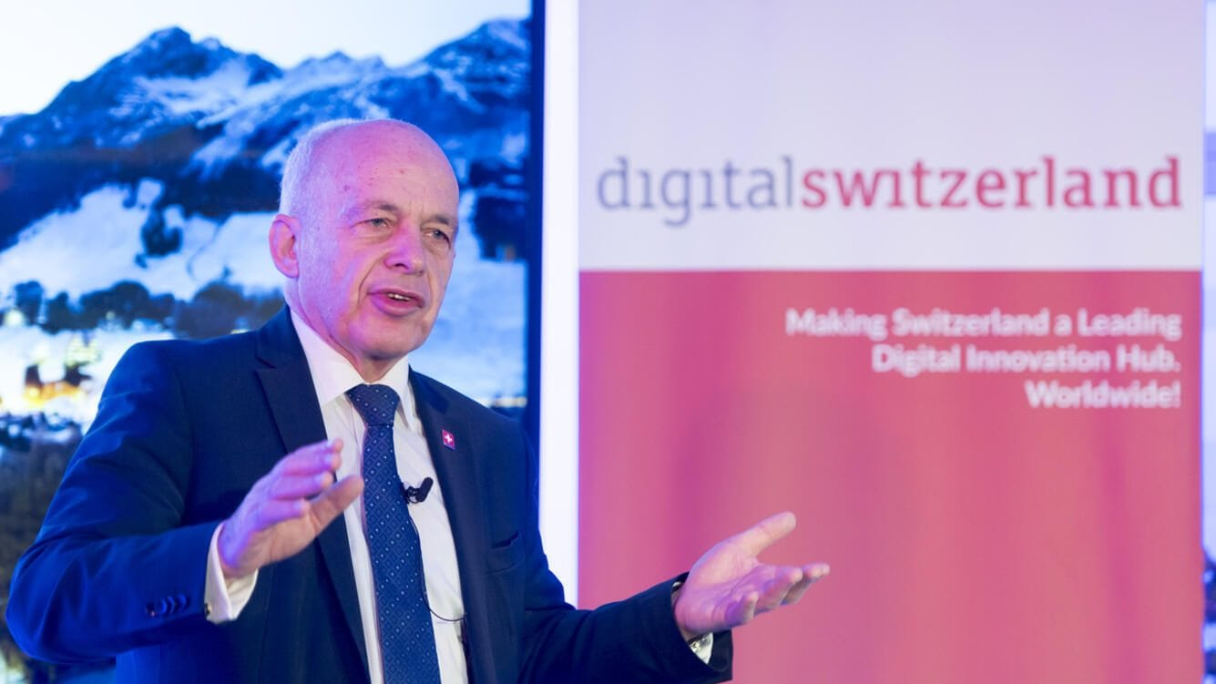 """Swiss Federal President Ueli Maurer speaks during the digitalswitzerland - Credit Suisse Breakfast on the sideline of the 49th Annual Meeting of the World Economic Forum, WEF, in Davos, Switzerland, Wednesday, January 23, 2019. The meeting brings together entrepreneurs, scientists, corporate and political leaders in Davos under the topic """"Globalization 4.0"""" from 22 - 25 January 2019. (KEYSTONE/Laurent Gillieron)"""