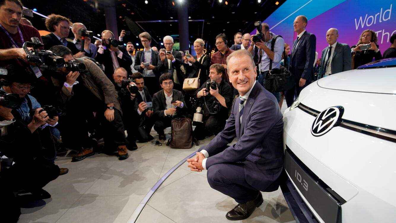 epaselect epa07830862 Volkswagen AG CEO Herbert Diess presents the new VW electric car ID.3 in Frankfurt, Germany, 09 September 2019. The 2019 International Motor Show Germany IAA 2019, which this year promotes itself under the motto 'Driving tomorrow', takes place in Frankfurt am Main from 12 to 22 September 2019. The IAA 2019 will also feature numerous world premieres, and has a special focus on electric mobility and digitization. EPA/RONALD WITTEK
