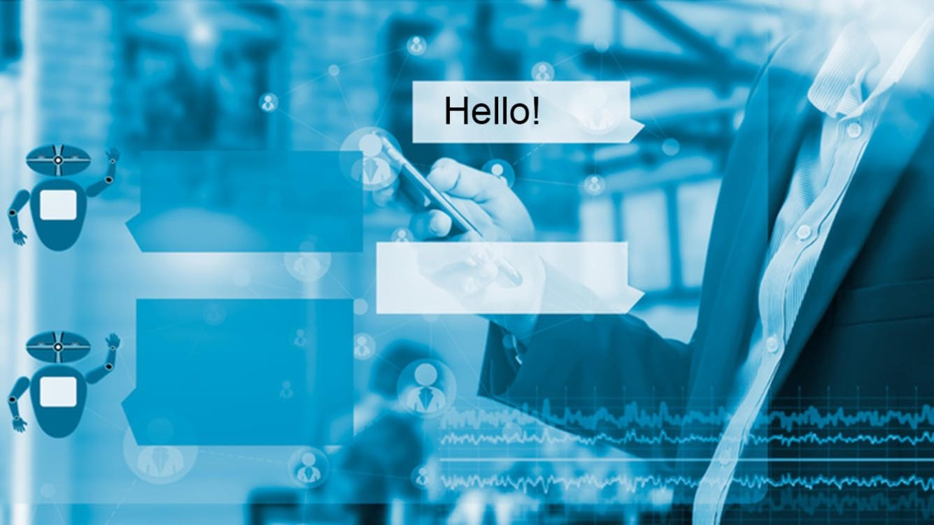Chatbot concept. Virtual chatbot interface with greeting message tag on double exposure of man using smart phone and coffee shop environment.Blue tone.
