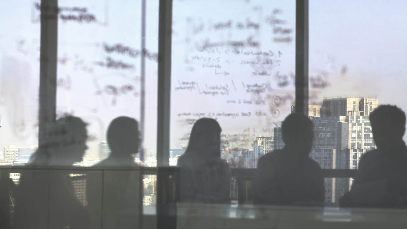 Silhouette shadows of business team meeting in office