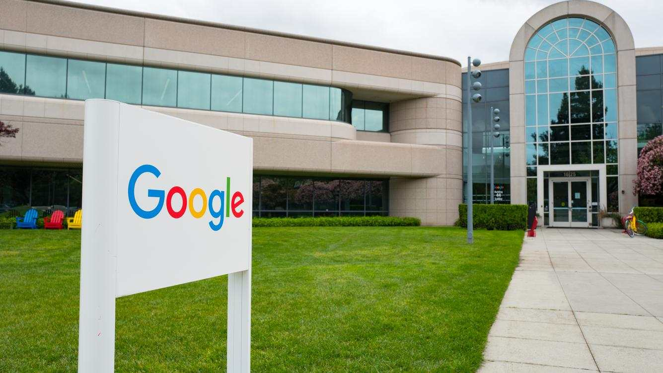 Logo with signage in front of Building 44, which houses employees working on the Android mobile phone operating system, at the Googleplex, headquarters of Google Inc in the Silicon Valley town of Mountain View, California, April 7, 2017. (Photo via Smith Collection/Gado/Getty Images).