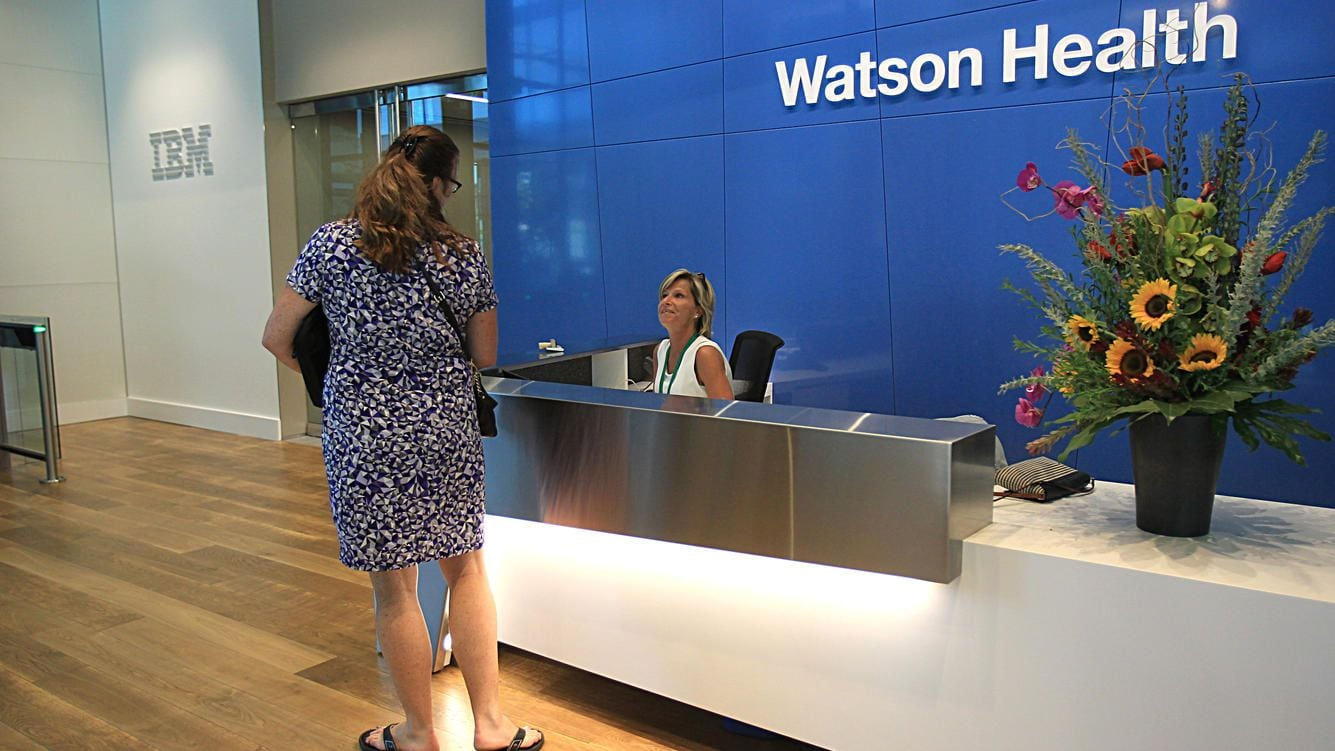 CAMBRIDGE, MA - AUGUST 29: The lobby of IBM Watson Health in Cambridge, Mass., on Aug. 29, 2016. This is IBM's new health care division. (Photo by Suzanne Kreiter/The Boston Globe via Getty Images)