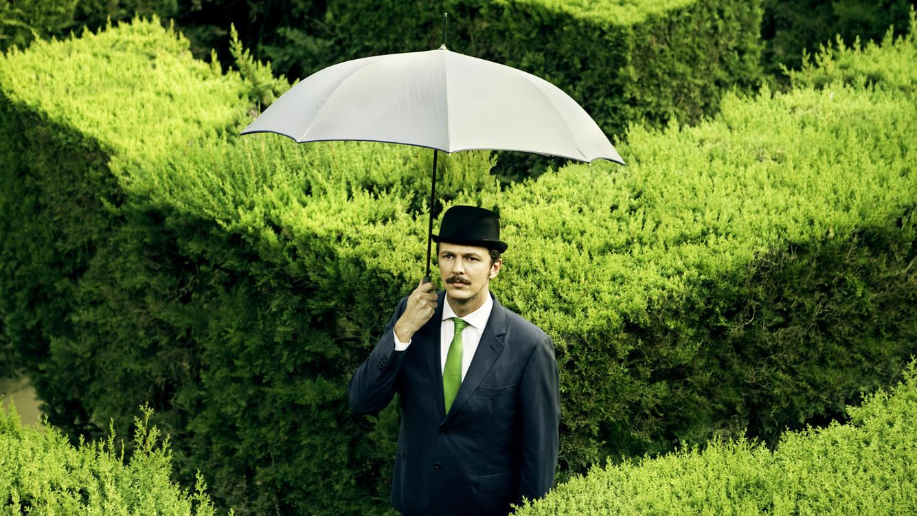 Classic businessman with an umbrella